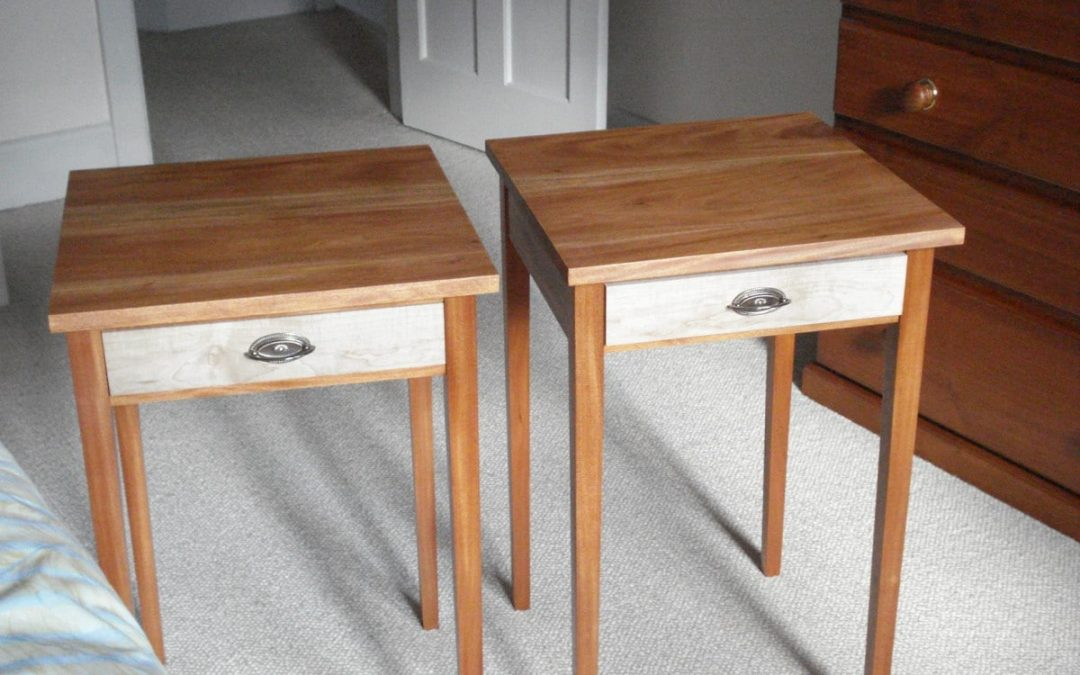 Fijian Mahogany and American Rock Maple Bed Side Tables